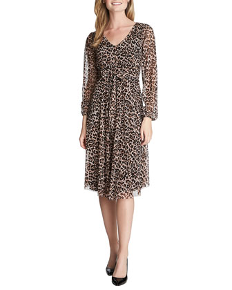Avery Long-Sleeve Leopard-Print Wrap Dress