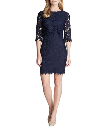 Audrey 3/4-Sleeve Lace Sheath Dress