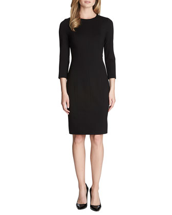 Zoe 3/4-Sleeve Ponte Sheath Dress