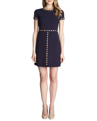 Sophia Short-Sleeve Stud-Trim Dress