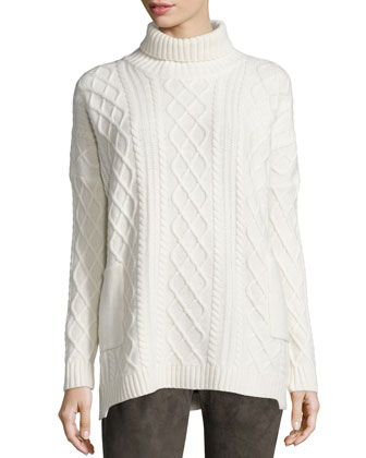 Long-Sleeve Cable-Knit Turtleneck
