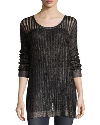 Metallic Foil Coated Sweater & Lorena Cuffed Boyfriend Jeans, Women's
