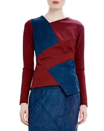 Long-Sleeve Asymmetric Colorblock Tee