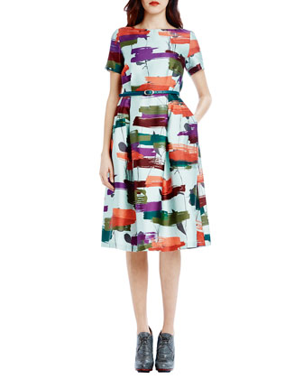 Short-Sleeve Printed Belted Tea-Length Dress