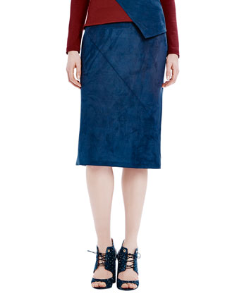 Woven Seamed Pencil Skirt