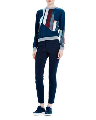 Silk Sweatshirt W/ Striped Trim