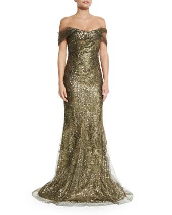 Off-the-Shoulder Metallic Gown