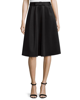 Scuba Pleated Skirt with Bow Waist