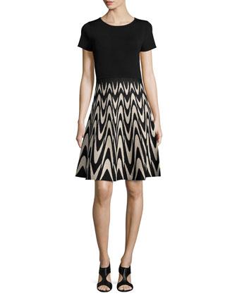 Short-Sleeve Wavy Jacquard Flared Dress