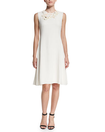 Floral Embellished A-Line Dress, Antique White