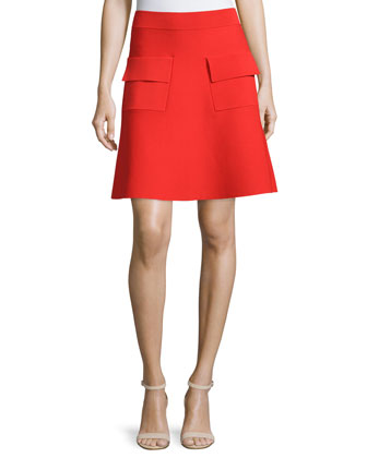 Aaron A-Line Ponte Skirt, Red