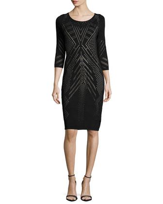 3/4-Sleeve Novelty-Stitch Body-Conscious Dress