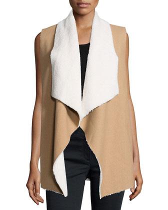 Keane Faux-Sherpa Open-Front Vest