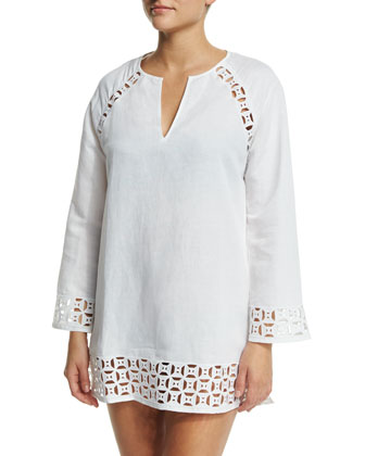 Embroidered Cutout Linen-Blend Tunic Coverup