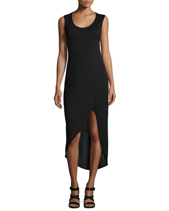 Modal Cutout-Back Tank Dress, Black