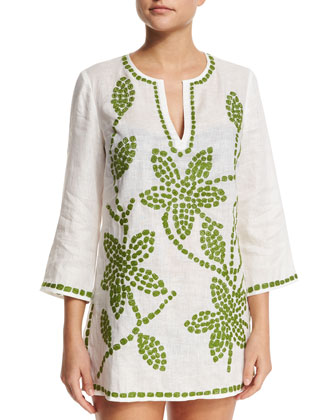 Embroidered-Floral Tunic Coverup