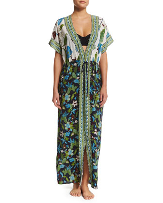 Floral-Print Long Caftan Coverup