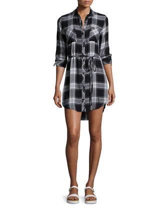 Nadine Belted Plaid Shirtdress, Black Ash