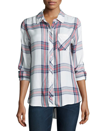 Hunter Plaid Long-Sleeve Shirt, White/Navy/Coral