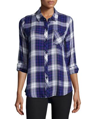 Hunter Plaid Long-Sleeve Shirt, Ultra Violet