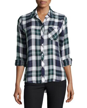 Hunter Plaid Long-Sleeve Shirt, Midnight/Forest