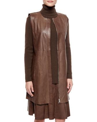 Inez Lambskin Leather Zip-Front Vest, Women's