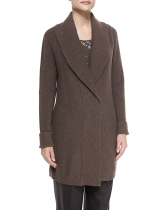 Shawl-Collar Long Wool Cardigan, Women's