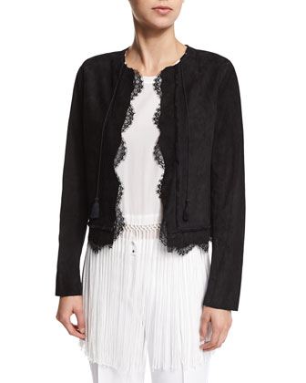 Pearson Suede Jacket with Lace Trim, Ananya Silk Top with Fringe Hem ...