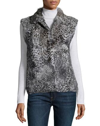 Animal-Print Fur Vest, Leopard