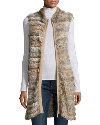 Goma Zip-Front Fur Vest, Brown