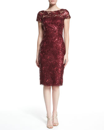 Short-Sleeve Sequined Sheath Dress