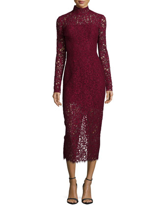 Long-Sleeve Lace Midi Cocktail Dress