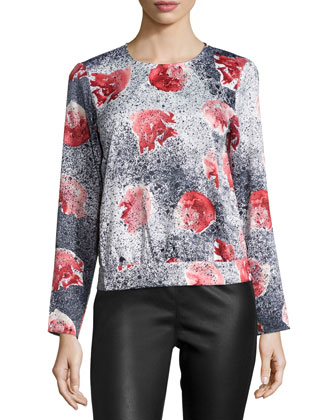 Alexandra Floral-Print Splatter Blouse, Black/Red