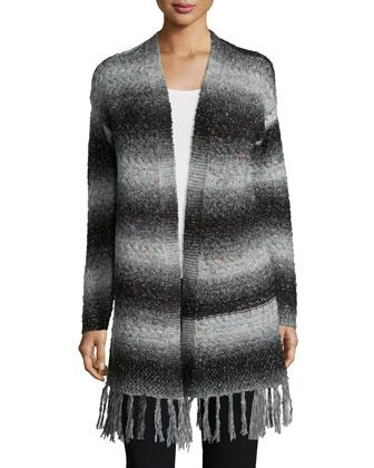 Wide-Stripe Sweater W/Fringe, Charcoal