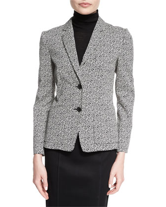 Tera Two-Button Printed Blazer, Black Multi