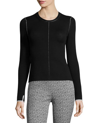 Andee Seamed Pullover Sweater, Black