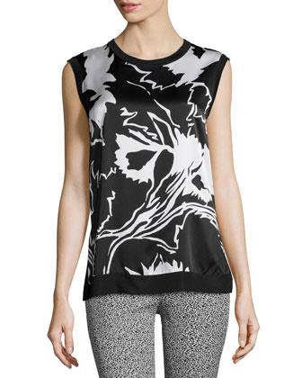 Anita Floral-Print Satin Tank, Black/White