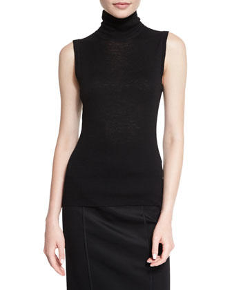 Briony Sleeveless Turtleneck Top, Black