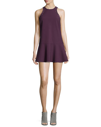 Iris Oversized Fur-Collar Long Coat & Lizabeth Flounce-Hem Mini Dress