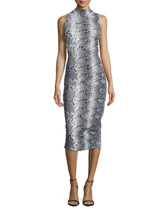 Mock-Neck Snake-Print Sheath Dress, Python Multi