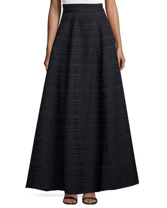 Sleeveless Jacquard Crop Top W/ Beading & Lex Striped Ball Skirt