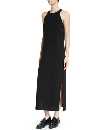 Indra Sleeveless A-Line Midi Dress, Black
