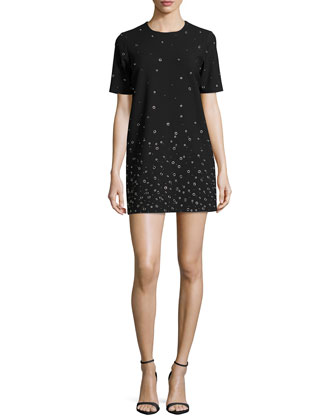 Karen Grommet-Embellished Shift Dress, Black