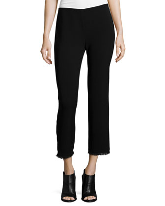 Damaris Button-Front Blouse & Caspar Slim-Leg Cropped Pants