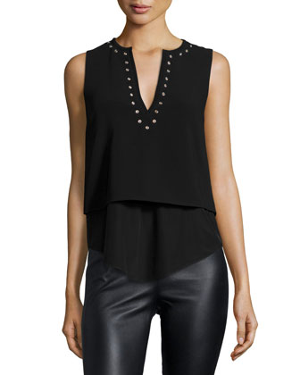 Elin Grommet-Embellished Top, Black