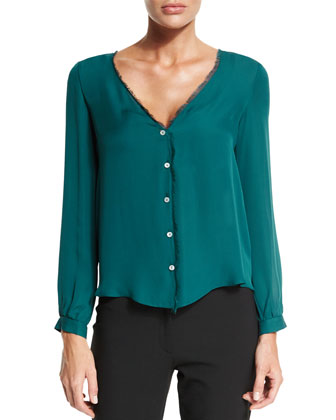 Damaris Button-Front Blouse, Blue
