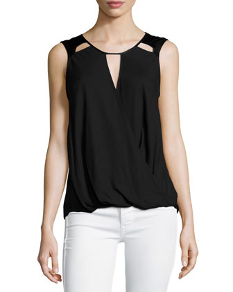 Sleeveless Cutout-Detail Top, Black