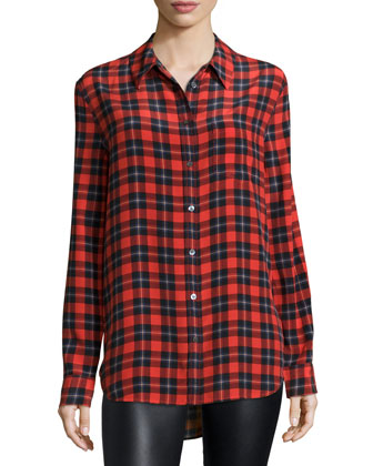 Reese Button-Front Plaid Shirt, Cherry Red Multi