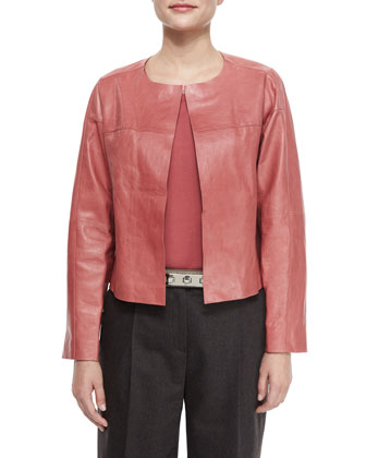 Loni Lambskin Leather Topper Jacket, Women's