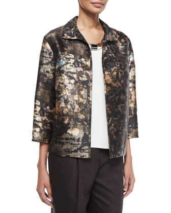 Griffen 3/4-Sleeve Printed Topper Jacket, Cleo Sleeveless Silk Blouse, Art ...